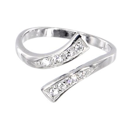 14K White Gold Diamond Toe Ring