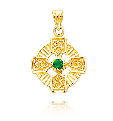 14K Gold Celtic Green CZ Pendant