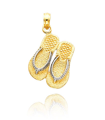 Yellow Gold Double Flip Flop Pendant