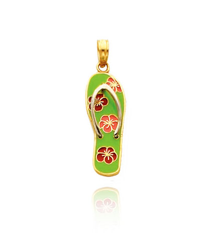 Green Enameled Flower Flip Flop Charm