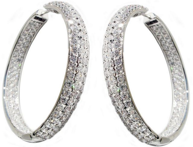 Fashion hoop earrings with diamonds