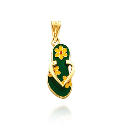 Yellow Gold Enameled Flowers Flip Flop Pendant