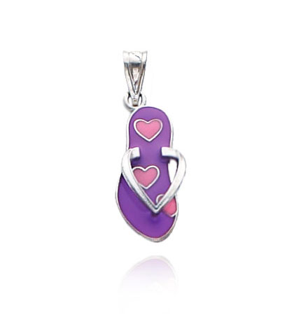 White Gold Enameled Hearts Flip Flop Pendant