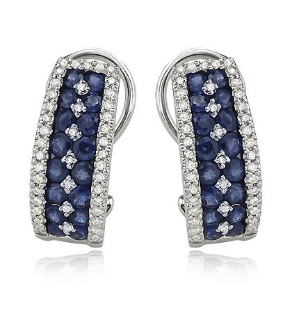 Blue Sapphire French Clip Earrings