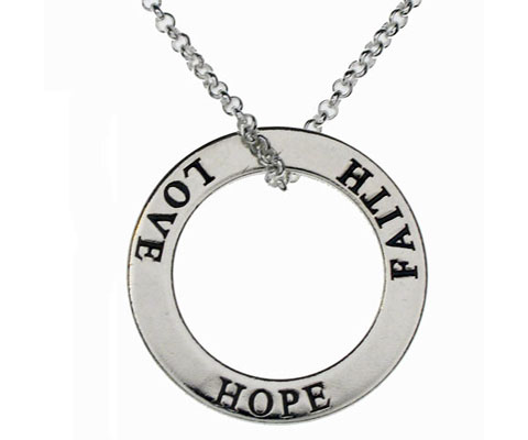 Silver Faith Hope Love Necklace