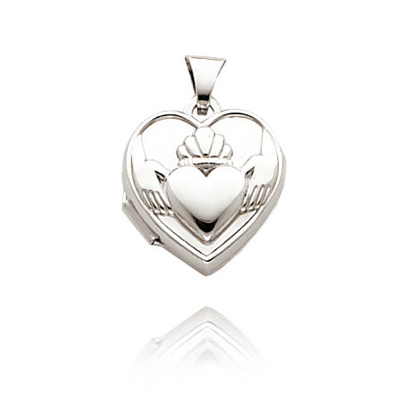 White Gold Claddagh Locket